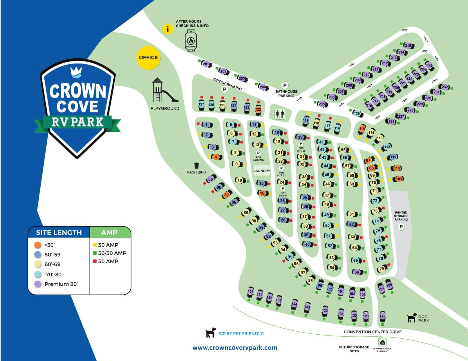 Crown Cove RV Park map